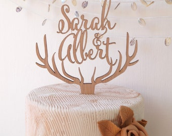 Wedding cake topper, personalized deer antler cake topper, rustic wedding cake topper, wooden antlers cake topper, custom cake topper