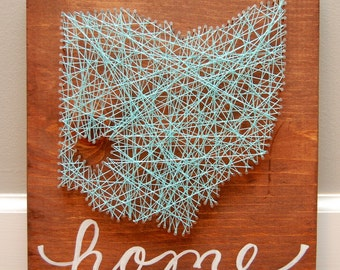 Customized Ohio State Random String Art, Thread Art. Nails, Dayton for Heart, Wedding Gift, Housewarming gift, Personalized with Home