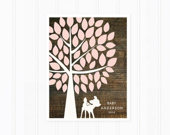 Baby Shower Guest Book, Guest Book Alternative, Tree with Baby Deer, Rustic Wood Design