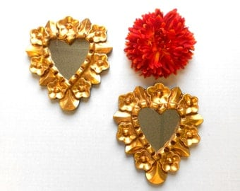 6.5 H, Wall Mirrors, Heart Mirrors, Small Decorative Mirrors, Gold Mirrors, Decorative Wall Mirrors, Small Wall Mirrors, Item GLHM0004