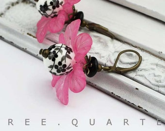 Earrings, XL, cherry blossoms, Japan, black, white, flowers, pink, flower, wedding, summer, pink, large, antique, bronze, romantic