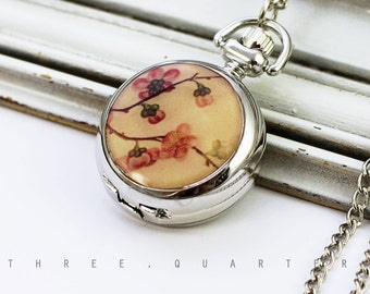 Watch chain, vintage, cherry blossoms, Japan, chain watch, pocket watch, necklace, silver, pink, beige, natural, romantic, nostalgic, bride