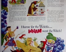 1951 ad Welch's Grape Juice-Hansel and Gretel-Fairy Tale-Green Witch Kitchen Art to Hang Vintage Print Ad ETK300