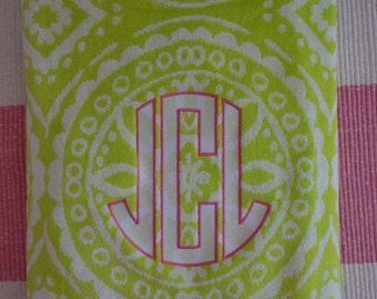 lime green medallion beach towel w/ hot pink trim & your choice of jumbo monogram