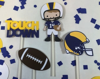 Football cupcake toppers, michigan, notre dame, Rams, Chargers, BYU, UCLA, West Virginia, football theme party, boys football, navy football