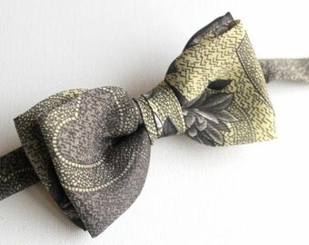 Bow tie,bow,mens bow,ecru,beige,grey