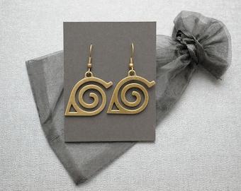 Naruto earrings – Hidden Leaf Village emblem – fandom cosplay prop – jewelry / jewellery