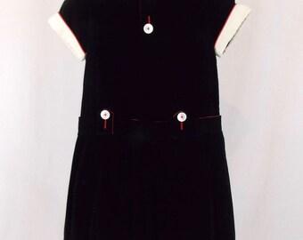 Girl's Vintage Black Velveteen Dress, Celeste New York