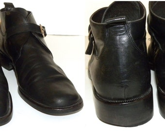 Vintage Black Leather Boots / Jessi Lee  / Boots / ankle / made ITALY / Monk Strap Boots / women's 8 M