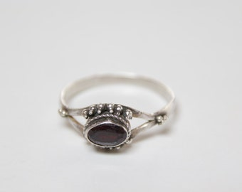 Delicate garnet and sterling silver ring  / Victorian Gothic / garnet ring / Gothic red garnet / delicate band