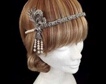 Vintage Great Gatsby Headband, Marcasite & Pearl Headpiece, 1920's Art Deco Headpiece, Deco Wedding, Bridal Headpiece, Flapper, Gatsby Event