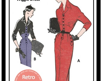 1950s Wiggle Dress - Vintage French Sewing Pattern -   Full Size Paper Sewing Pattern