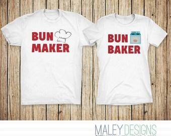 Funny Maternity Shirts, Bun Maker Bun Baker Funny Couple Maternity Costume, Matching Couples Halloween Shirts, Couples Pregnancy Shirts