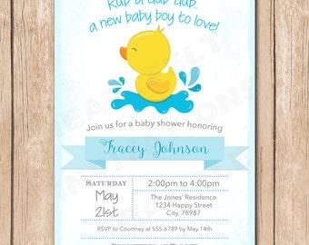 Ducky Baby Shower Invitation | Gender Neutral, Rub a Dub, Rubber Duck - 1.00 each printed or 10.00 DIY file