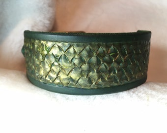 Leather Dog Collar Dragon Scale (Green/Gold)