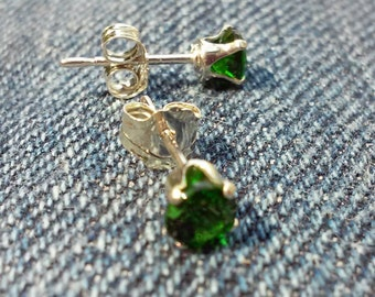 4mm each Russian Chrome Diopside Gemsone      Sterling Stud Earrings Gorgeous Diopside Earrings    FREE Shipping to USA