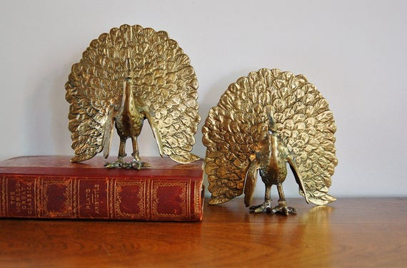2 Brass Peacock Bookends Pair Mid Century Modern Strutting