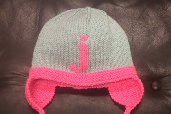 Hand-Knit Letter Hat with Earflaps for Baby/Child - Shown in Light Blue/Bright Pink merino wool