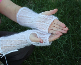 HAND MADE knitted gloves fingerless, hand warmers,white mohair long with lace patterned with Swarovski crystals ready to ship