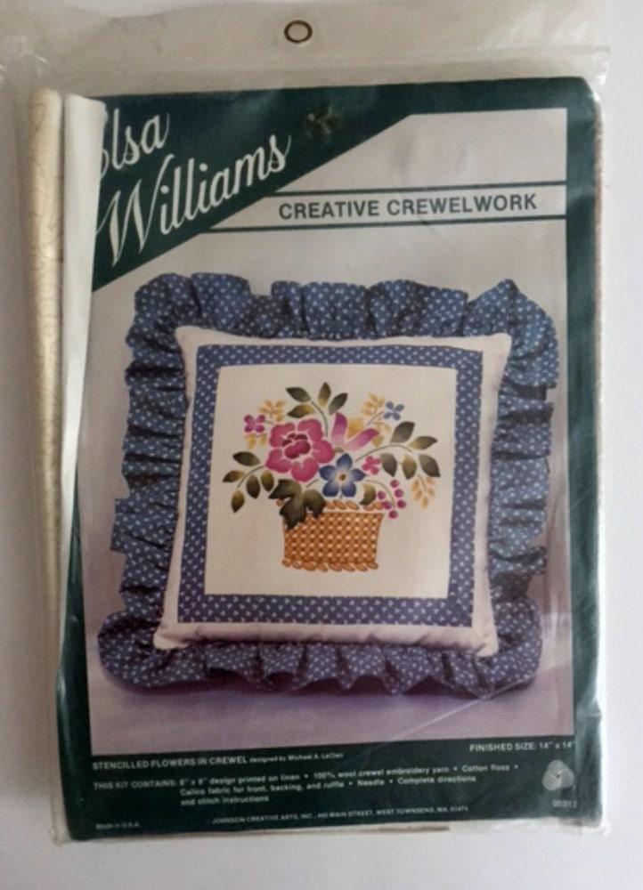 Vintage elsa williams crewel embroidery kit flowers basket