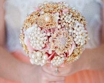 Custom Pearl Brooch Bouquet,  Blush Silk Flower Bouquet, Fabric Flower Broach Bouquet, Bridesmaid Bouquet - 6 inch