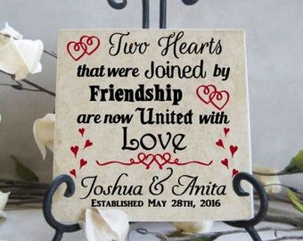 Two hearts joined in friendship united in love  - Vinyl decal for DIY tile, block or plate - Personalized wedding gift - MOST POPULAR gift