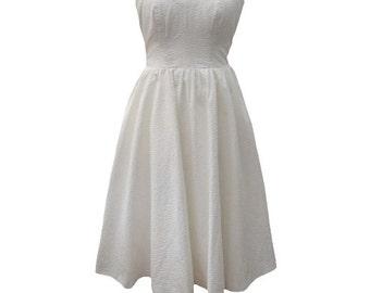 1980s strapless white vintage prom dress