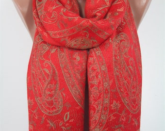Pashmina Scarf Paisley Red Scarf Shawl Christmas Gift For Her For Mom Holiday Fashion Scarf Fall Winter Scarf Women Fashion Accessories