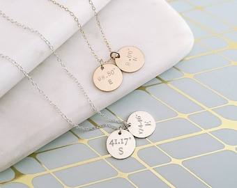 Coordinates Necklace - Personalised Charm Necklace - Longitude & Latitude - Customised Necklace - Gold Fill or Sterling Silver - ND02-G/S