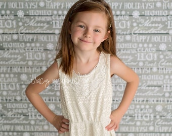 3ft x 3ft Holiday White Wood Backdrop - Christmas Wood with Words Photography Backdrop - Winter Photo Prop - Exclusive Design - Item 3023
