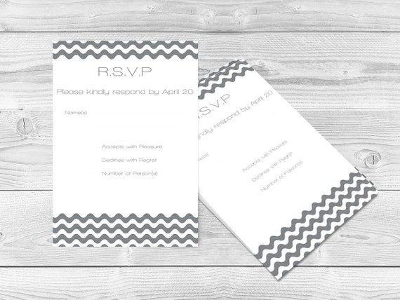 Wedding rsvp card template grey wave chevron printable wedding rsvp card template grey wave chevron printable response card editable pdf 5x35 rsvp card instant download diy you print pronofoot35fo Images