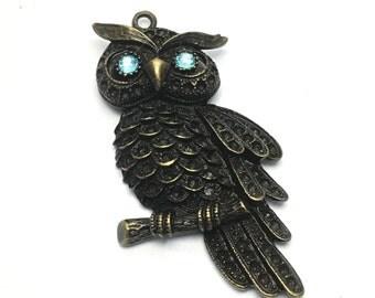 1 owl charm bronze tone 60mm #PEN 121