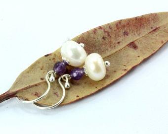 Pearl Earrings, Amethyst Earrings, Sterling Silver Earrings, Freshwater Pearl Earrings, Bridal Earrings, Bridal Jewelry, Silver Earrings