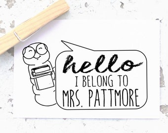 Teacher Stamp- Book Stamp- Bookworm- Custom Self-inking- From The Classroom Of Stamp- Book Stamp- Personalized Rubber Stamp-  10233