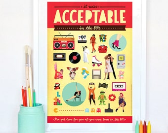 Acceptable in the 80s Typography Lyrics Poster, Pop Art, Pop Culture Gift, Song Illustration, Eighties Fun Music Art Print, 80s Nostalgia