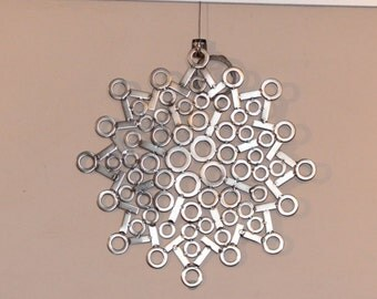"Stainless steel metal wall art sculpture / placemat "" Throat Chakra"""