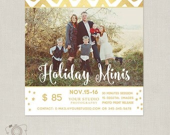 Holiday Mini Session Template - Photography Marketing Board - Christmas Minis Flyer 089 - C285, INSTANT DOWNLOAD