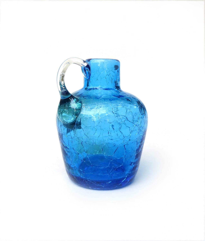 Vintage Handblown Pilgrim Crackle Glass 3 5 Tall Jug Bottle