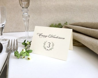 Laurel Wreath Ivory Wedding Place Cards - Folded Rustic Wedding Place Cards - Printed Wedding Name Cards - Name and Table Numbers Printed