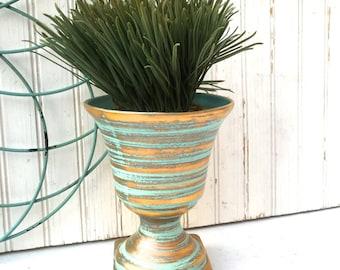Vintage Ceramic Flower Urn , Gold and Aqua Striped Ceramic Urn Style Flower Pot