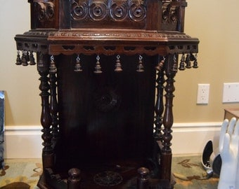 Antique Anglo Indian Carved Rosewood Temple - MJ