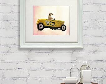 Hot rod car art  -Meerkat in Hot Rod  - man cave décor little man cave man cave gifts car poster garage decor car wall art gift for him