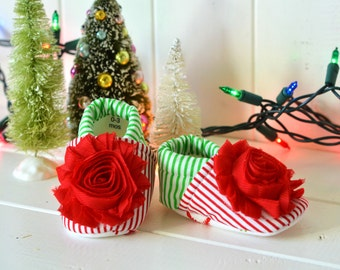 Christmas baby girl shoes with red shabby flower and Snowflake Sole