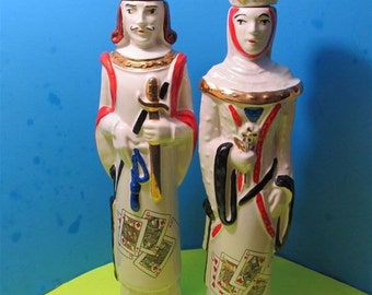 Rare Vintage 1969 Ezra Brooks Queen of Hearts & King of Spade Liquor Decanter Ceramic Porcelain Figurine Collectible Collector