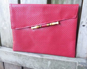 """Vintage Red Envelope Clutch Purse- Embossed Vinyl with Bamboo accent 1980's Clutch bag  13"""" x 10"""""""