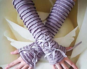 Stone Beige Ruffled Arm Warmers Steampunk Lace Up Wedding Fingerless Gloves Cotton and Nylon Fingerless Gloves
