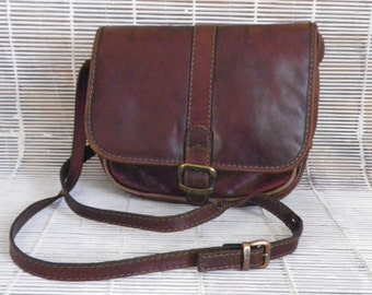 Vintage Brown Leather Small Size Italian Bag Purse With Shoulder Strap The Trend