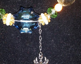Crystal SpiderWeb and Dangling Spider necklace