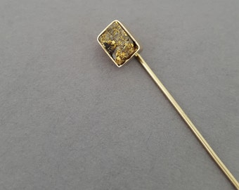 Antique Victorian 12K Gold, Raw Gold in Quartz Nugget Stick Pin - Choose Your Own Customization