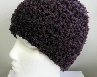 Plum Beanie Hat Plum Crocheted Beanie Hat Hand Made